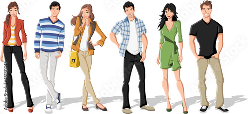 Group of fashion cartoon young people. Teenagers. - 45130443