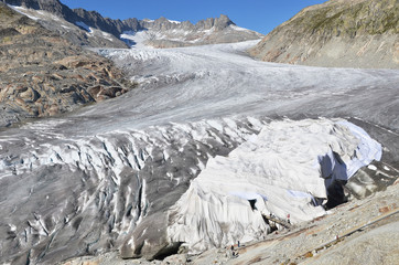 Melting Rhone glacier, Switzerland. View from Furka Pass