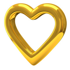 Gold heart 3d - love and Valentine's day symbol