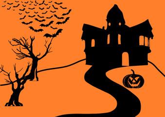 Halloween Collage black on orange
