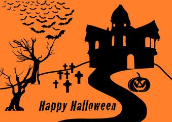 Halloween Collage with text black on orange