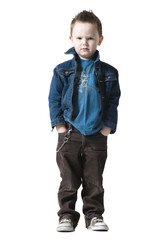 little boy in a jean jacket