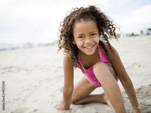 """USA, California, Los Angeles, Portrait of girl (6-7) on beach"""