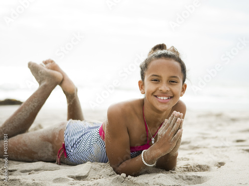"""USA, California, Los Angeles, Portrait of girl (10-11) on beach"""