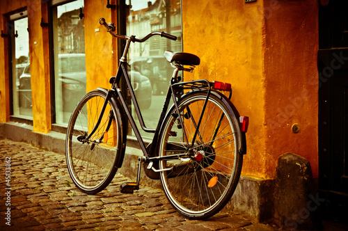 Poster Classic vintage retro city bicycle in Copenhagen, Denmark