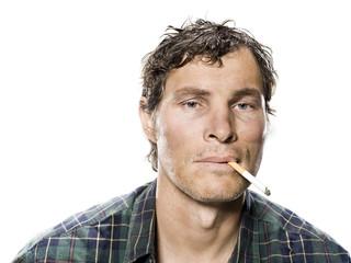 White trash man smoking