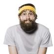 bearded man wearing a headband