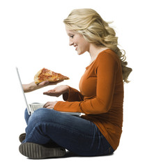 woman ordering pizza online
