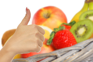 thumbs up and fresh fruits