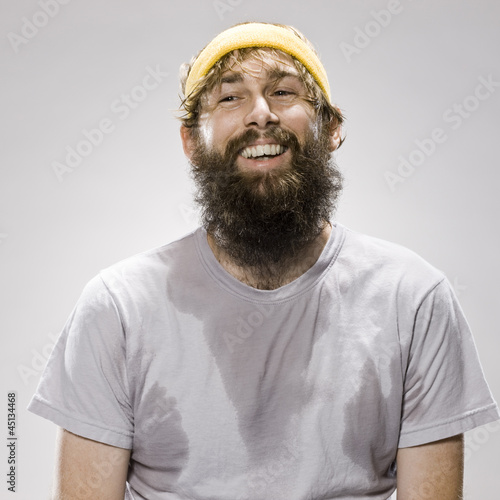 bearded man wearing a headband