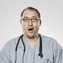 doctor yawning