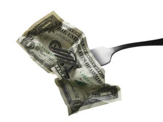 dollar on a fork