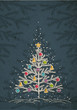 christmas trees  on color dark background, vector