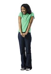 woman in green shirt