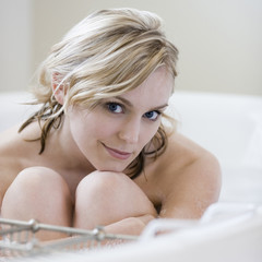 woman taking a bath