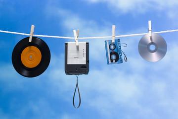 media on a clothesline