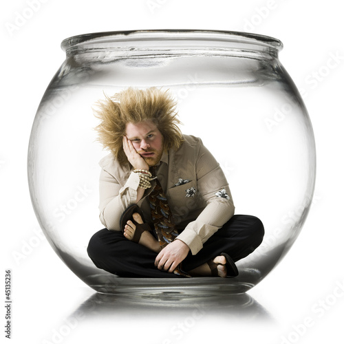 man in a fish bowl