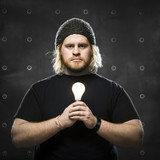 man with a light bulb