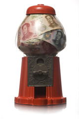 gumball machine full of money
