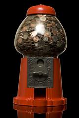 gumball machine full of money