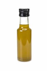 Botella de aceite de oliva virgen extra sobre fondo blanco