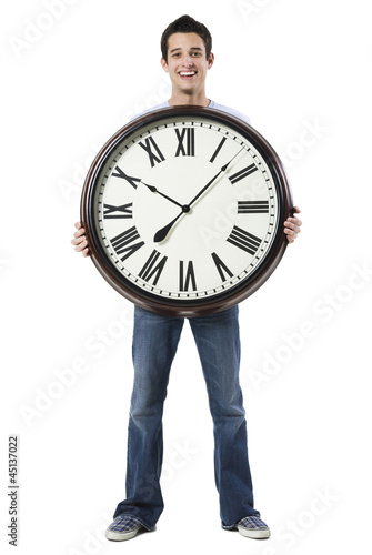young man with a clock