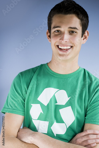 young man in a recycling t-shirt