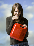 woman drinking gasoline