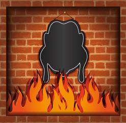 blackboard chicken fireplace grill blank