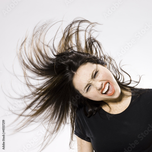 woman with wild hair and appearance