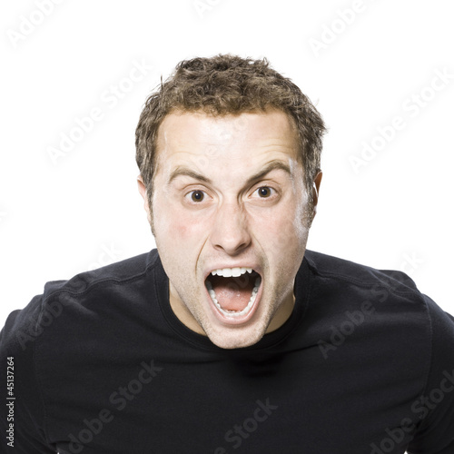 man screaming at the camera