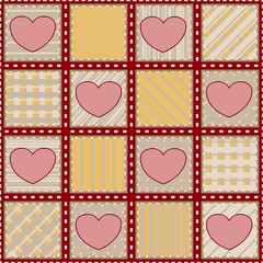 Seamless quilt texture with hearts