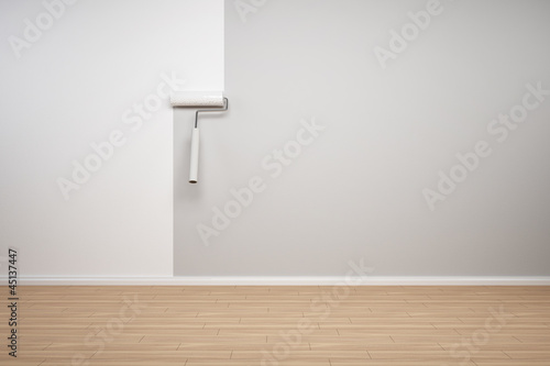 Wand wird weiss gestrichen