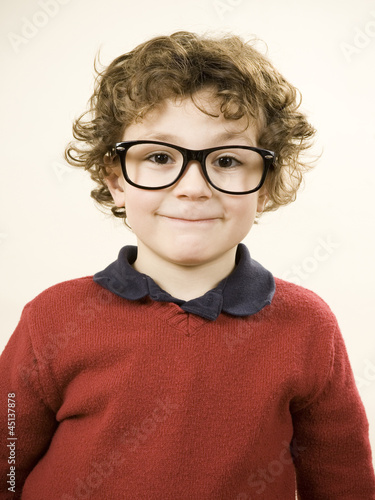 boy wearing glasses