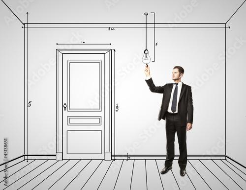 businessman drawing interior