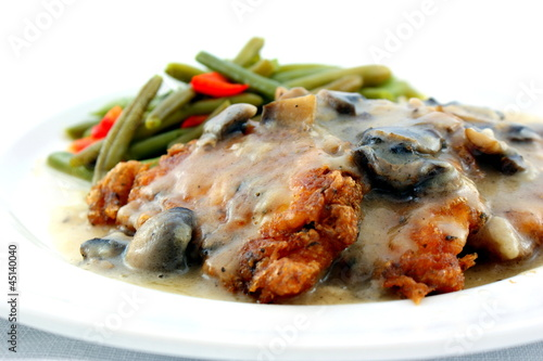 Chicken Romano in a mushroom wine sauce