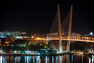 night view of the bridge in the Russian Vladivostok over the Gol