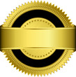 Golden blank label with golden ribbon, vector illustration