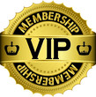 Vip golden label with ribbon, vector illustration