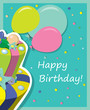 Vector birthday cake . Greeting Card.