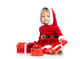 Santa Claus baby girl with gift box isolated on white background