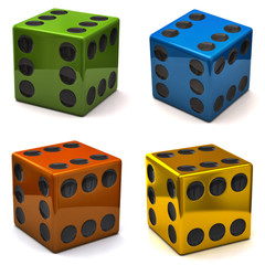 Set of dice with six on all sides, concept of luck