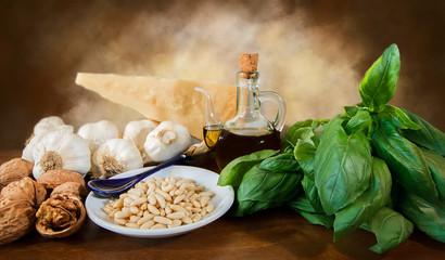Ingredienti per la preparazione del pesto alla Genovese