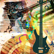 art grunge background with guitar and trumpet