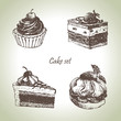 Set of cakes. Hand drawn illustrations