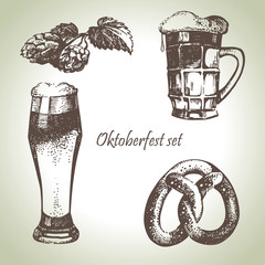 Hand drawn Oktoberfest set of beer, hops and pretzel