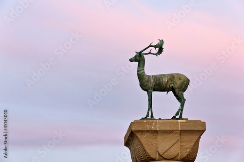 Rhodes city, Greece, Deer statue closup