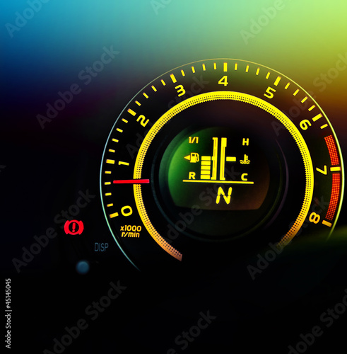 car speedometer and fuel gauge