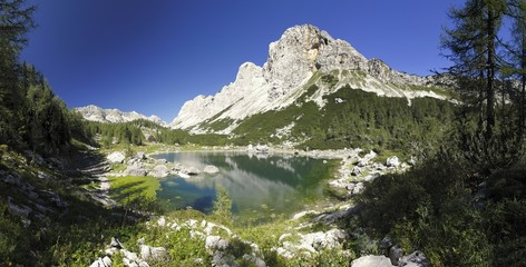 Dvojno Jezero in Valley of seven Triglav lakes in Julian Alps