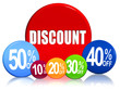 discount and different percentages in color circles